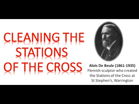 Cleaning the Stations of the Cross & prayer to St Joseph the Worker